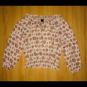 NEW ANN TAYLOR Brown Animal Print Blouse-Size SP